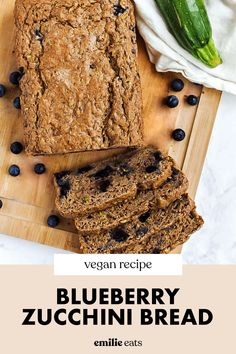 Enjoy this whole-grain Blueberry Zucchini Bread for a nutritious breakfast or dessert! It's vegan and filled with wholesome ingredients. Vegan Dessert Recipes, Vegan Breakfast Recipes, Fruit Recipes, Vegan Recipes Easy, Healthy Desserts, Appetizer Recipes, Whole Food Recipes, Blueberry Zucchini Bread, Vegan Blueberry
