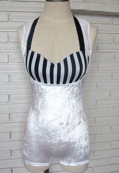 Singlet Bodysuit Aerial Cirque Costume, Stretch Velvet, Custom Size and Color. $45.00, via Etsy.