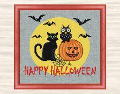 Happy Halloween Cross Stitch Pattern spooky full by TimeForStitch