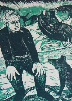 Eateban Fekete - Original Limited Edition Woodcut – Art & Vintage Store Ltd Vintage Prints, Vintage Art, Wall Art Prints, Fine Art Prints, Woodcut Art, Wood Engraving, Affordable Art, Printmaking, The Originals