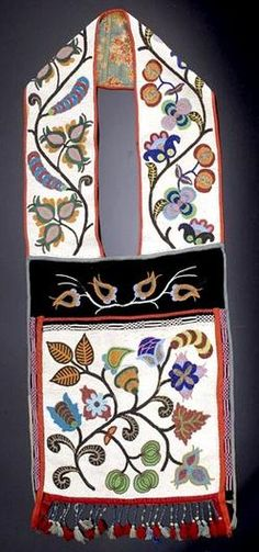 bandolier bags for auction | native american, America, A large Chippewa beaded bandolier bag. Fully ...