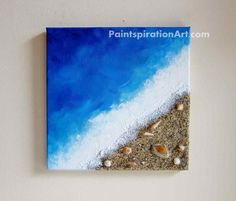 Beach Painting Ocean Decor with Real Sand and by Paintspiration, $55.00