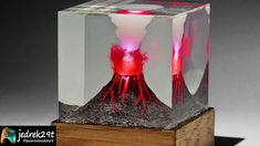 How to make a resin lamp in a simple way. Resin Volcano Resin Tutorial, Night Lamps, Resin Art, Simple Way, Diorama, How To Make, Diy, Epoxy, Tutorials