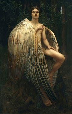 """El ángel caído"" (The fallen angel) huile sur toile de lin (114 x 73 cm) - Museo Europeo de Arte Moderno - peint par Arantzazu Martínez (née en 1977) peintre espagnole contemporaine ==> http://www.arantzazumartinez.com/galeria.html."