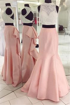 Pretty Two Pieces Long Mermaid Open Back Elegant Girly Prom Dresses Z0495