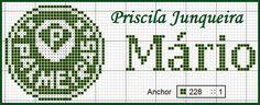 E aqui está mais uma sugestão para toalhinhas menores. Este gráfico do símbolo do Palmeiras tem 32 pontos de altura. Deu para bordar certin...