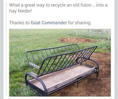 Old Futon Frame Repurposed Into Goat Feeder Farmgoats Amp Sheep