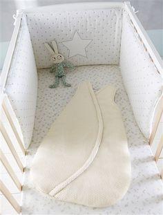 27.99€ - Protector de cuna gasa de algodón estampado bebé BLANCO ESTAMPADO