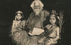 Rabindranath Tagore with his granddaughter and grandnephew in Shantiniketan, West Bengal on April 10, 1934.