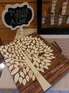 Rustic Wood Wedding Tree Canvas | Guest Book Alternative | Signed Peachwik Tree | Rustic Wedding | Customer Photo | Wedding Color - Purple | peachwik.com
