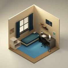 Isometric Japanese House Interior by Halcyon-Design on DeviantArt Isometric Drawing, Isometric Design, Modern Apartment Design, Modern Interior Design, Bedroom Setup, Bedroom Decor, Spaceship Interior, Japanese House, Game Design