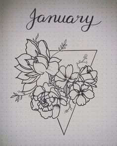 Bullet journal monthly cover page, flower drawings. | @jayy.tee__