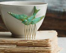 Forest BIRD Hair Comb Woodland Whimsical Nature Bridal Green Bird Fairy Wedding Garden
