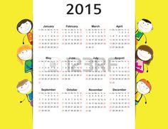 Nette und bunte Kinder Kalender auf 2015 Jahre Stockfoto - 28407108