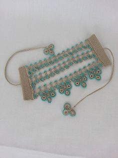 Cuff bracelet – bracelet with beaded crochet flowers and blue crochet lace-peyot… - Bracelets Jewelry