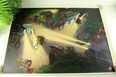 Excited to share the latest addition to my #etsy shop: School Wall Chart 1930s/Road Safety by Night Poster 1930s Eugen Hartung No 3 of 1- V /Hartung Mainzer Cats/Vintage Cars