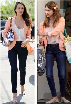 "Jessica Alba in an apricot-colored findersKeepers ""Ring Me Up"" blazer in L.A. and Santa Monica this summer."