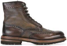 Santoni lace-up brogue detail boots