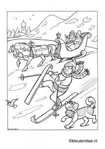 Kleurplaat Skieen Kleuteridee Winter Preschool Coloring