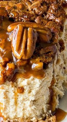 Brown Sugar Pecan Pie Cheesecake ~ I've taken two of the best desserts out there and combined them into one knock-out recipe! It is rich, decadent and full of delicious caramel flavor! Holiday Desserts, Easy Desserts, Dessert Recipes, Baking Desserts, Cake Baking, Thanksgiving Desserts, Holiday Pies, Health Desserts, Dinner Recipes