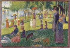 """Study for """"A Sunday on La Grande Jatte"""" by Georges Seurat. Oil on canvas, The painting, which took Seurat two years to complete, is one of the earliest examples of the Pointillism technique. Georges Seurat, Claude Monet, Vincent Van Gogh, Metropolitan Museum, Seurat Paintings, Oil Paintings, Modern Paintings, Virtual Field Trips, Camille Pissarro"""