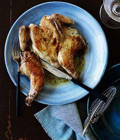 pan fried lemon and mascarpone spatchcock chicken