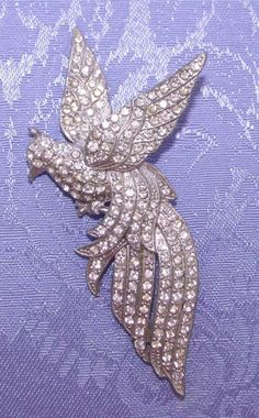 Vintage 1930s Art Deco Rhinestone Bird Brooch