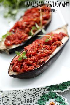 Bakłażan faszerowany - dieta dr Dąbrowskiej Antipasto, Vegan Recipes, Food And Drink, Tasty, Lunch, Meals, Dinner, Health Fitness, Cooking