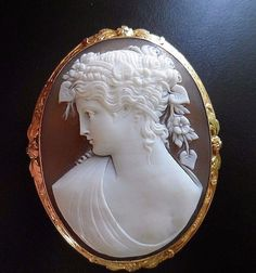 X-tra Fine Antique Large Shell Cameo Brooch of Flora in 14k in Jewelry & Watches, Vintage & Antique Jewelry, Fine | eBay