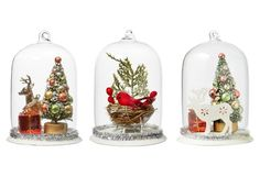 "Asst. of 3 5"" Christmas Cloche Ornaments"