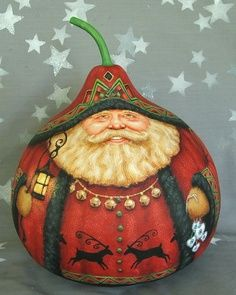 Free Gourd Painting Patterns | GOURD Denmark Santa by Suzy Meelhuysen ( Etsy.com )