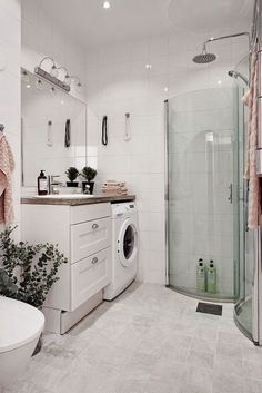 51 creative basement laundry room ideas for your home 10 Basement Laundry, Laundry In Bathroom, Simple Bathroom, 50s Bathroom, Home Interior, Bathroom Interior, Small Laundry, Bathroom Pictures, Laundry Room Design