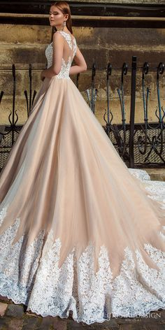 crystal design bridal 2016 sleeveless embellished semi sweetheart neckline lace bodice champagne color princess a  line ball gown wedding dress illusion back royal train (ariel) zsv