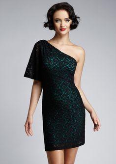 LOVE this! (Nine West one-shoulder Paisley Lace dress)