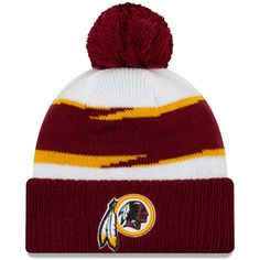 Men s Washington Redskins New Era White Burgundy Thanksgiving Cuffed Pom  Knit Hat 911b162e7