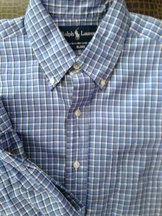 Men Ralph Lauren Blake Blue White Plaid Medium Shirt  Polo #PoloRalphLauren #ButtonFront