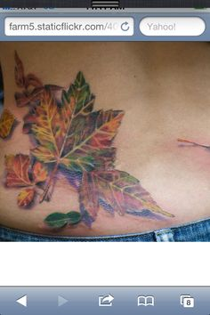 Leaf tattoos can represent one& journey, the cycle of life. Learn about leaf tattoos, leaf tattoo meanings, leaf tattoo ideas, and view dozens of leaf tattoo designs. Fall Leaves Tattoo, Autumn Tattoo, Autumn Leaves, Maple Leaves, Autumn Fall, Pine Tattoo, Tree Tattoo Meaning, Tattoos With Meaning, Tattoo Meanings