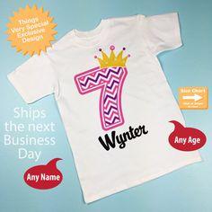 Seventh Birthday Shirt Pink Chevron 7 By ThingsVerySpecial On Etsy 7th Shirts