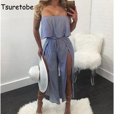 $25.6 - Nice Tsuretobe Fashion Striped beach Jumpsuit Women Romper Summer casual Off Shoulder jumpsuit Backless Sexy split Ruffles Jumpsuits - Buy it Now!