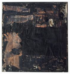 Untitled [black painting with portal form]. Robert Rauschenberg