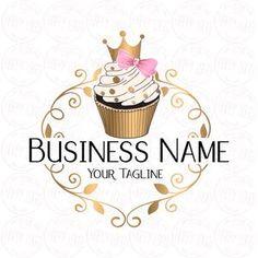 Cake Logo Design, Custom Logo Design, Custom Logos, Logo Cupcake, Cupcake Bakery, Cupcake Cupcake, Crown Cupcakes, Gold Cupcakes, Logo Dulce