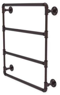 Would love to hang my towels here! - Allied Brass Pipeline Collection 24-Inch Wall Mounted Ladder Towel Bar in Antique Bronze #temperguss #brasspipeline #bathroomideas #bathroom #bath #towels #affiliate