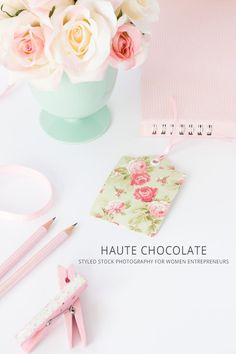 Shabby Chic Stock Photography for women entrepreneurs by Haute Chocolate. Styled pink desktop.