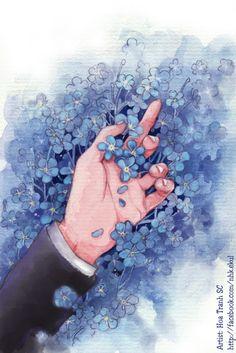 """Tranh minh họa cho truyện """"Forget me not"""" của Điền Yên. Họa sĩ: Hoa Tranh SC"""