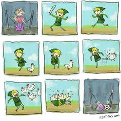 Ryotiras has summed up a Zelda truism in this very funny comic strip. The Legend Of Zelda, Legend Of Zelda Memes, Zelda Video Games, Video Game Memes, Nintendo, Twilight Princess, Princess Zelda, Gaming Memes, Gamer Humor