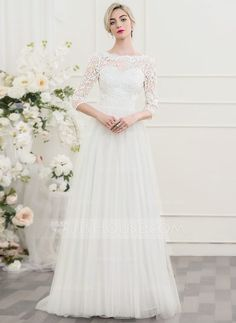 [US$ 159.99] A-Line/Princess Scoop Neck Sweep Train Tulle Lace Wedding Dress With Beading Sequins Bow(s)