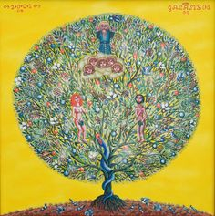 eve tree of life 2002 oil on canvas galambos tamas contemporary artist . Oil On Canvas, Canvas Prints, Adam And Eve, Contemporary Artists, Museum, Fine Art, Wall Art, Image, Amp