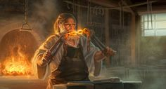 Dwarf with a white beard wearing an apron and a white shirt, holding a glowing chain with tongs. Forging the Chain by capprotti.deviantart.com.