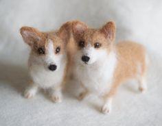 Nadel-Felted Corgis Hund Wolle Pet Portrait