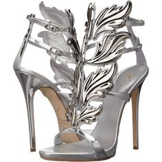 Giuseppe Zanotti High-Heel Winged Sandal Women's Shoes ($1,595) ❤ liked on Polyvore featuring shoes, sandals, heels, gold, giuseppe zanotti shoes, open toe shoes, open toe sandals, high heel platform sandals and metallic platform shoes